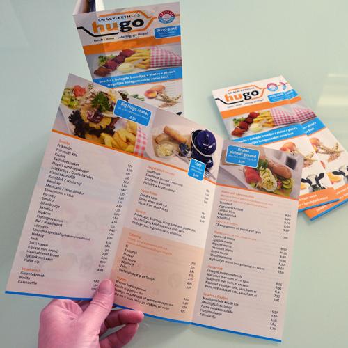 mos grafische vormgeving reclamefolder snack eethuis hugo