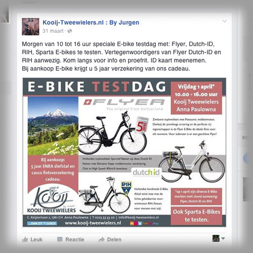 mos reclame facebook advertentie kooij tweewielers